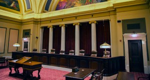 At issue for the Supreme Court was how Minnesota's statutory repose periods apply to condominiums. Namely, does each unit within a condominium building have its own warranty date or does a single warranty date apply to the entire condominium building? This photo shows the court's chamber in the State Capitol. (File photo: Kevin Featherly)