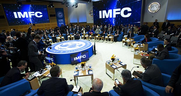 The World Bank cautioned Wednesday that a number risks could upend its forecast. In this Oct. 19, 2019, photo, members of the International Monetary and Financial Committee meet at the World Bank/IMF Annual Meetings in Washington. (AP file photo)