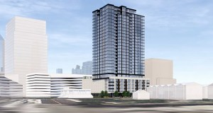 CA Ventures' apartment tower design proposed for 200 Central Ave. SE would bring 356 apartments to the site. (Submitted illustration: ESG)