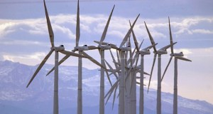 In this Oct. 10, 2002, file photo, turbines blow in the wind at an Xcel Energy wind farm on the border of Colorado and Wyoming south of Cheyenne, Wyo. (AP Photo/David Zalubowski, File)