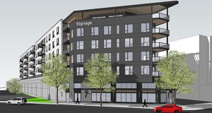 Northland Real Estate Group and Ackerberg Group plan to build 153 apartments at 337 West Seventh St. in St. Paul. The building is designed to be affordable and attractive to the nurses and other health care workers at United Hospital and Children's Minnesota St. Paul Hospital, which can be seen behind the building in this rendering. (Submitted image: DJR Architecture)