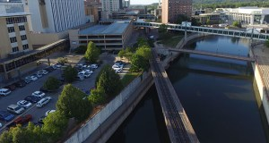 Rochester received two formal responses to a statement of interest seeking developers for a 2.2-acre plot of land, including an aging city parking ramp, along the Zumbro River in downtown. (Submitted photo: City of Rochester)