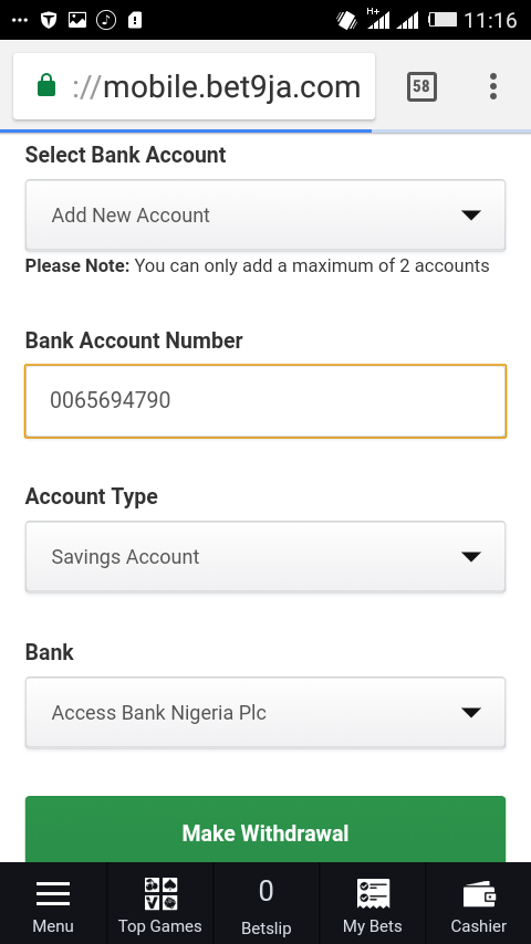 Withdraw from Bet9ja account