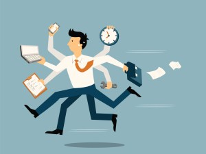 Businessman running in a hurry with many hands holding time, smart phone, laptop, wrench, papernote and briefcase, business concept in very busy or a lot of work to do.