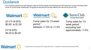 Wal-Mart 2018 Guidance