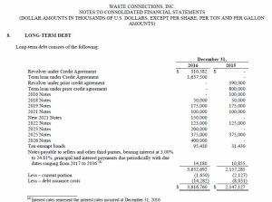 WCN - Debt snapshot