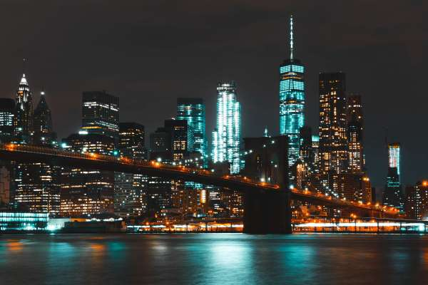 New York City Skyline Lit Up at Night