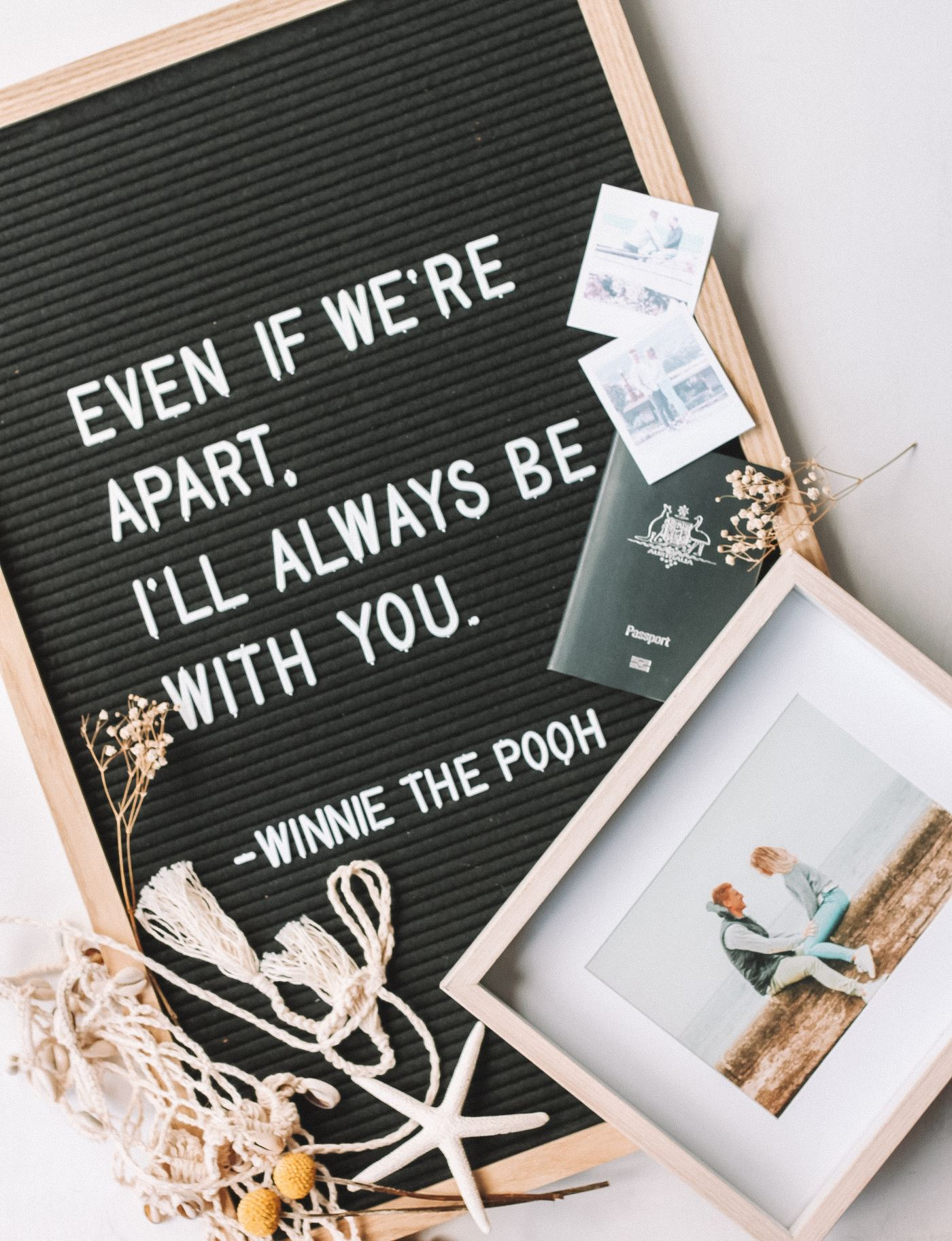 """Winnie the Pooh Quote - """"Even if we're apart. I'll always be with you."""""""