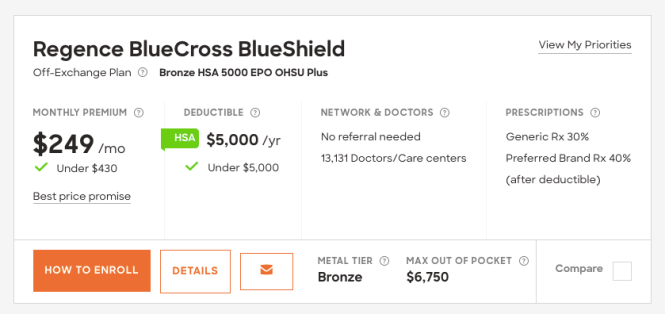 Bronze healthcare plan screenshot