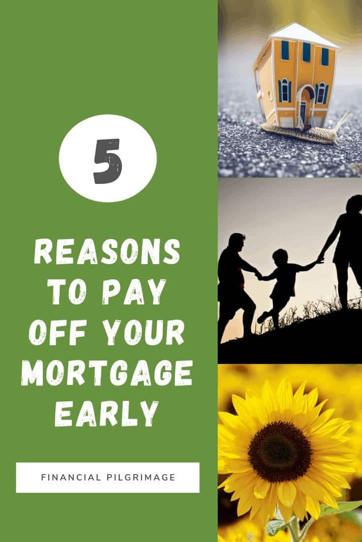 A Pinterest Pin titled five reasons to pay off your mortgage early, along with a picture of a house, family, and sunflower