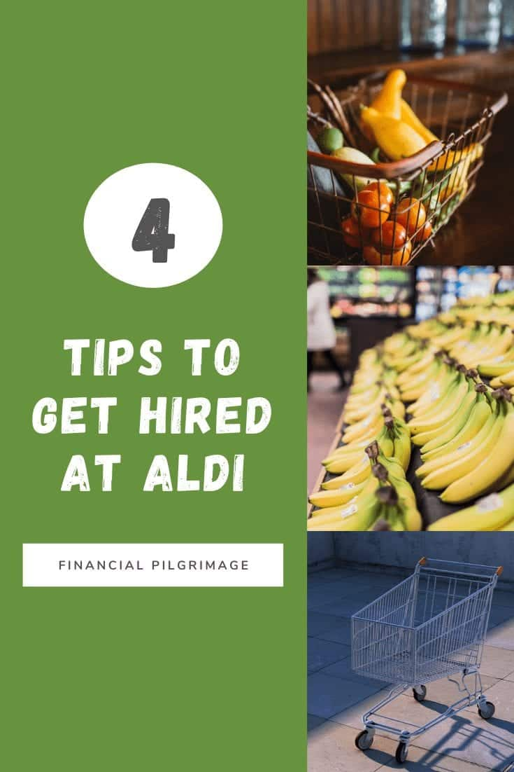 Aldi Hiring Tips: Pinterest image showing a shopping cart, bananas, and fruit basket.