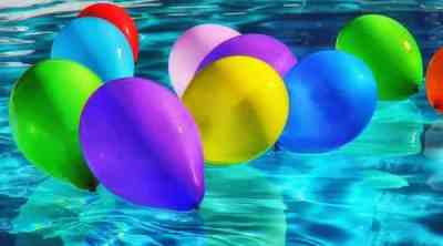 Ballons floating on water to celebrate blogiversary