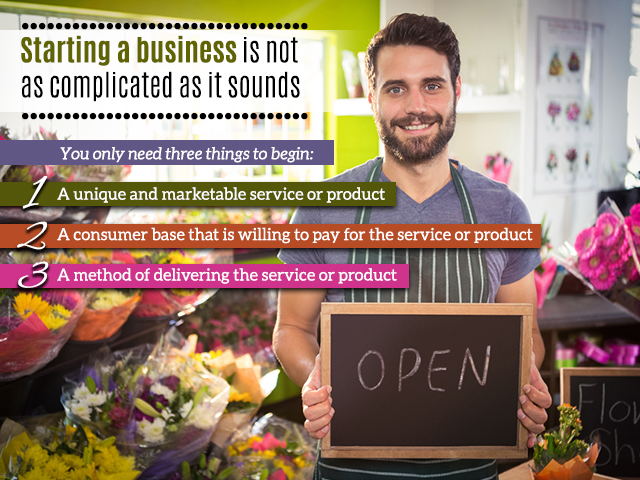 Starting a business is not as complicated as it sounds. You only need three things to begin
