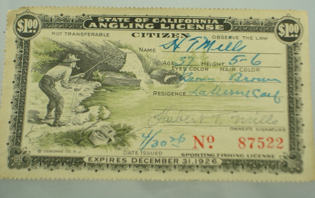 Antique fishing license the paper years fin and flame for One day fishing license ca