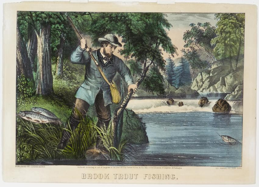 Brook Trout Fishing Currier and Ives