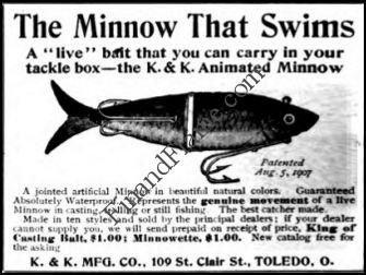 KK Minnow Lure Ad 1909