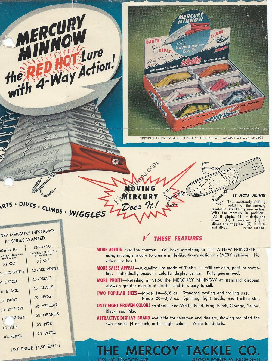 Mercury Minnow Lure Sales Sheet