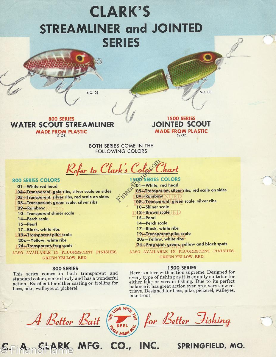 Clark water scout lure chart fin and flame fishing for history clark streamliner and jointed scout lures clark water scout color chart nvjuhfo Gallery