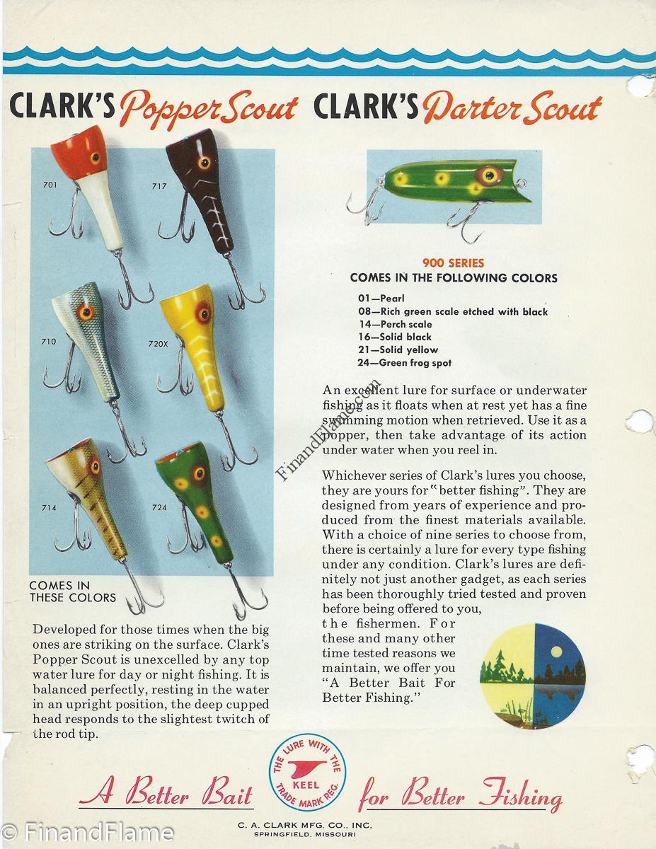 Clark Popper Scout Darter Lure Chart