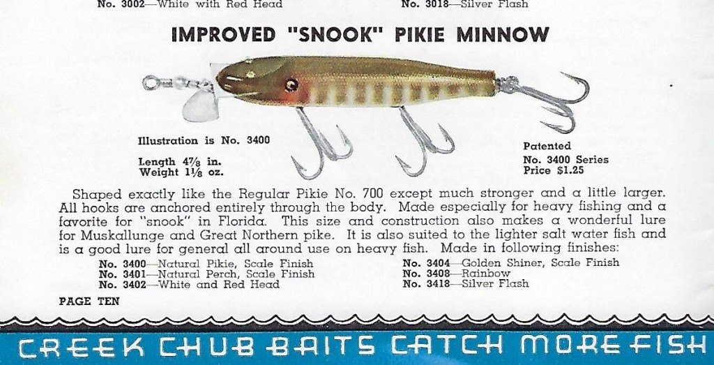 Creek Chub Snook Pikie Catalog Cut 1941