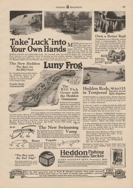 1927 Luny Frog Lure Ad