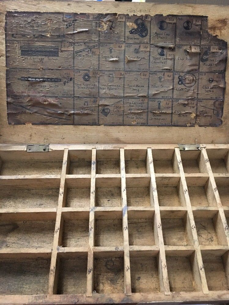 RARE Reel Parts Repair Wooden Box 1940's Shakespeare TRIUMP 1958 Antique  Display - Fin & Flame Fishing for History