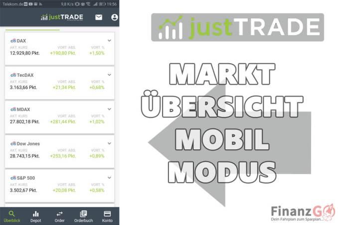 Marktübersicht bei JustTrade nach dem Login.