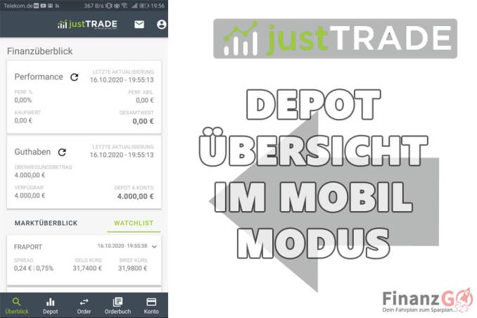 JustTrade Erfahrungen Übersicht. Es gibt eine Mobile Ansicht und einen Desktop Variante.