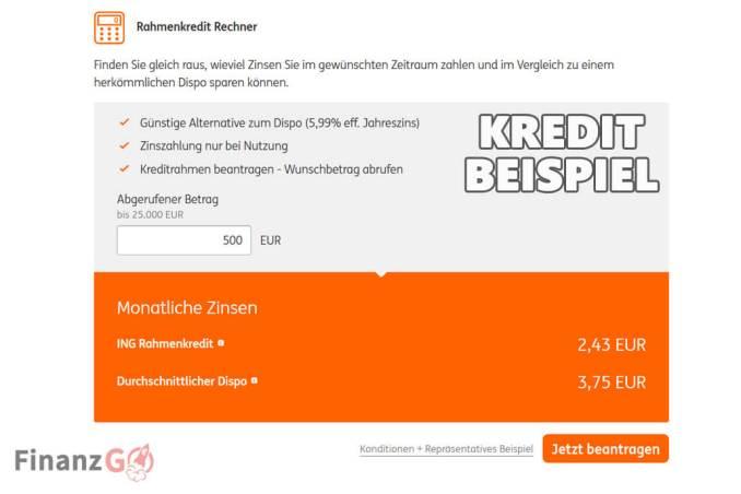 ING DiBa mini eilkredit Beispiele mit 500 Euro