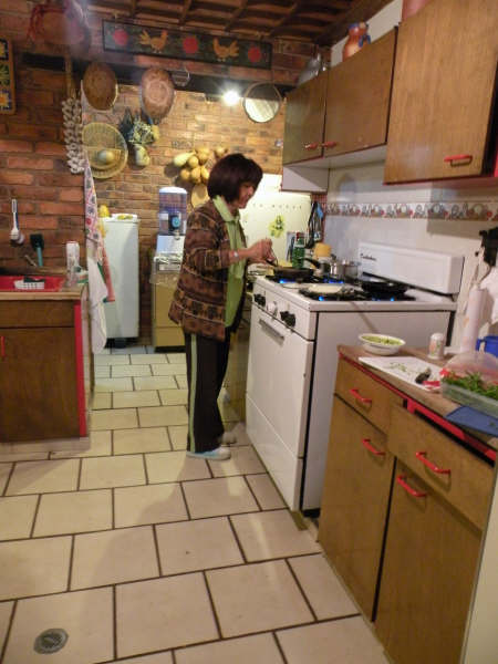 Mother Gilma in the kitchen