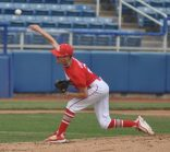 Brae Farrell of LB was the starting pitcher for the Red team.
