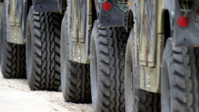 close up of military vehicle wheels
