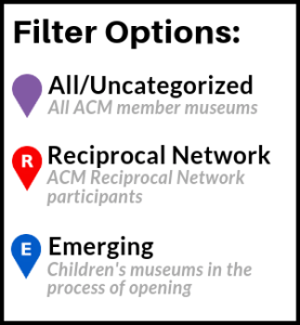 Filter Options for Find a Children's Museum search tool
