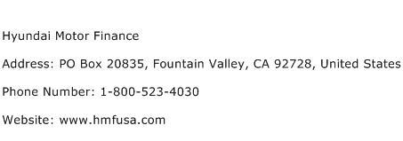 Hyundai Motor Finance Address Contact Number Of