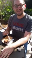Enjoying pork belly