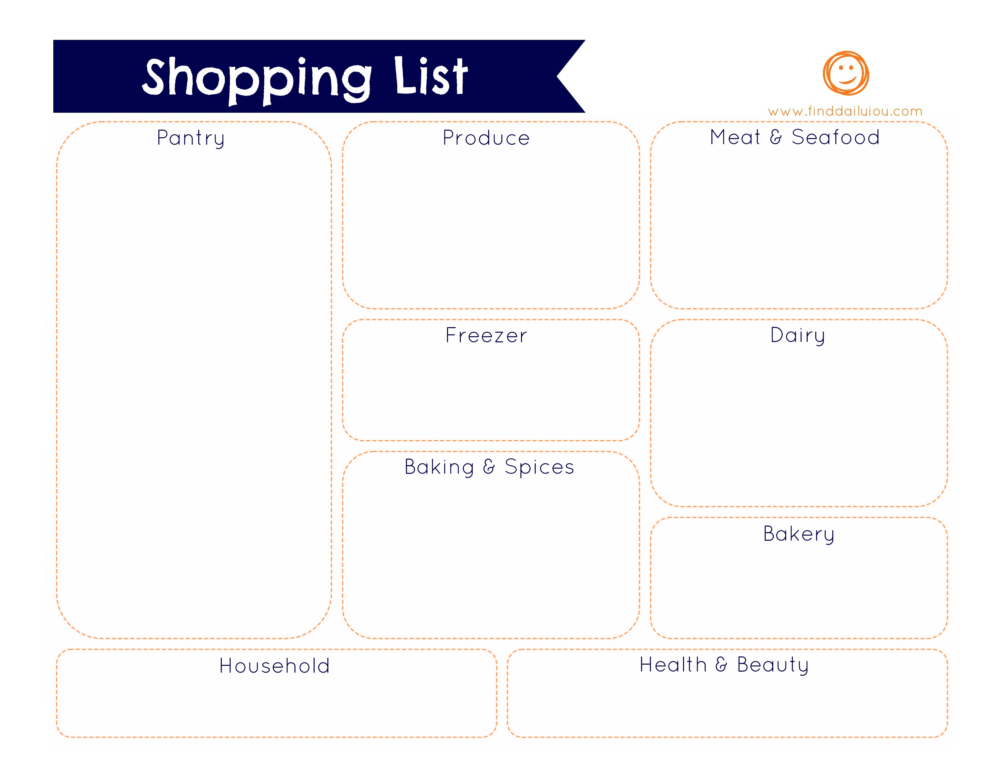 Grocery Shopping List Free Printable