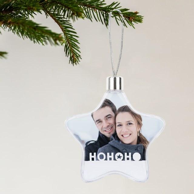 Personlige julepynt med dit foto og tekst Image
