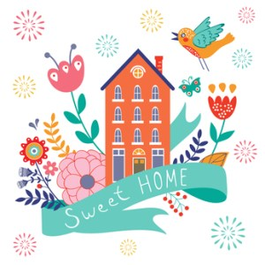 Home sweet home concept illustartion with house, ribbon, bird  and flowers