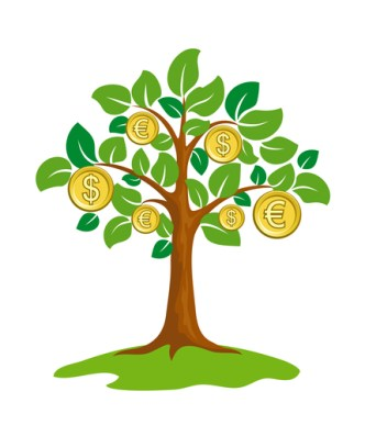 Money tree with coins. EPS8 vector.