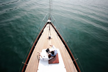Couple Relaxing on Boat
