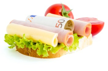 Sandwich and euro money. Expensive food