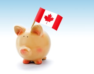Piggy bank with national flag of Canada