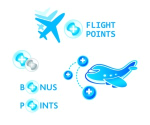 Flight bonus points symbol concepts isolated