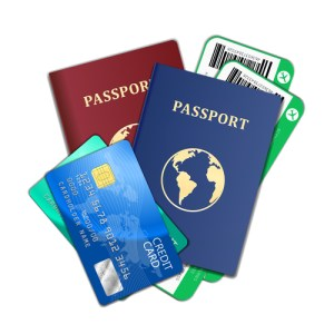 Travel and tourism concept. Air tickets, passports and credit cards, tourism and planning, vector illustration
