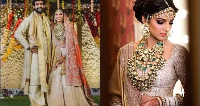 Rana and Miheeka complement each other in ivory, gold and zardozi. See latest pics