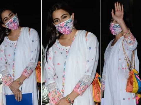 Sara Ali Khan's white OOTD with rainbow coloured accents, matching accessories and mask is a lockdown Diwali must-have