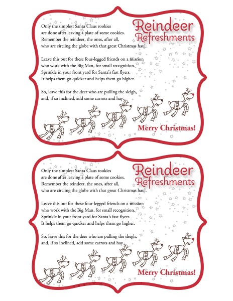 Reindeer Refreshments with Frame