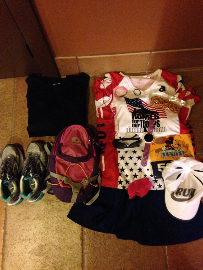 To make a runDisney race morning a little easier, here is a tip: lay out everything you will need in the morning.