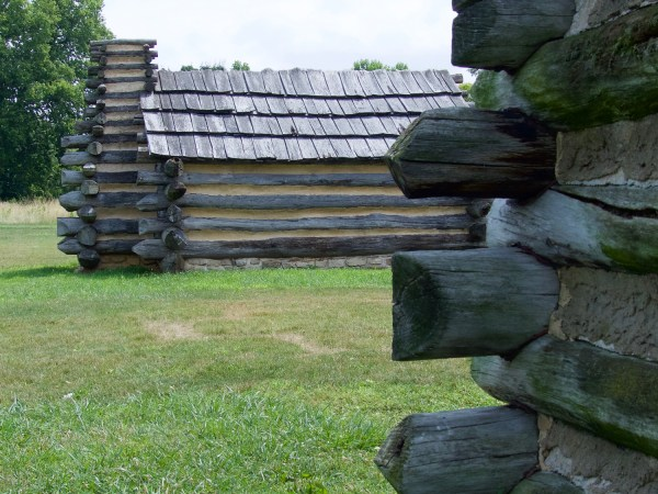 Log cabin soldiers' huts at Valley Forge encampment