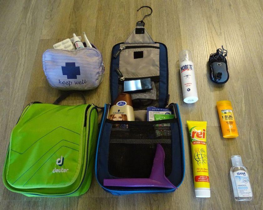 Packliste Weltreise Kosmetik Waschtasche Medizin